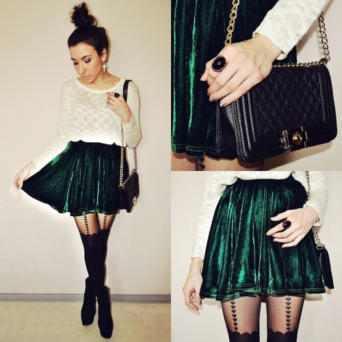 lookbookdotnu:  Velvet skirt (by Pam S)  Hey Alexandra! Look at this skirt!!