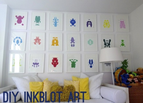 DIY Inspiration: Rorschach Ink Blot Art Wall from Sketch 42 here. There are good tips for making these colorful prints if you don't want to have a fold down the middle of your artwork. I love Rorschach Ink Blot Inspired DIYs and have posted a roundup of tutorial here:http://truebluemeandyou.tumblr.com/tagged/rorschach