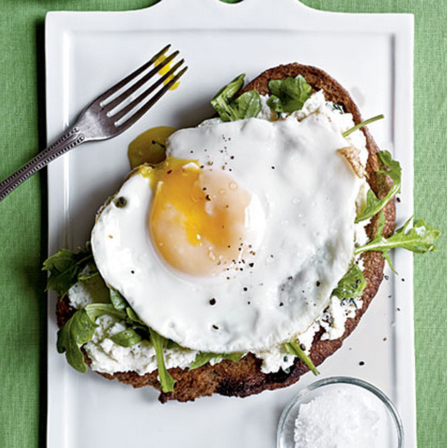 open-face ricotta, arugula & fried egg sandwich