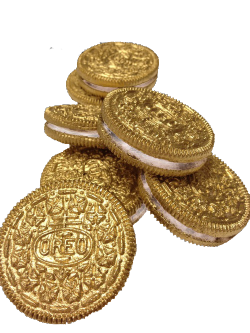 primordials:  Transparent gold oreos: The filling will be the colour of your background.
