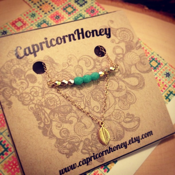 Free Spirit gold & turquoise bar w/ a whimsical little leaf! Enter promo code: INSTALOVE for a 10% off your purchase! #jewelry #eyecandy #artists #gold #hipster #boho #fashion #necklace #dainty #turquoise #etsy