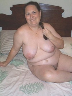nakedbisexualdaddy:My hairy fat wife in bed posing for a friend