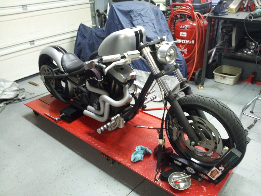 QCB's Slick Scott has new paint on his Buell chop.