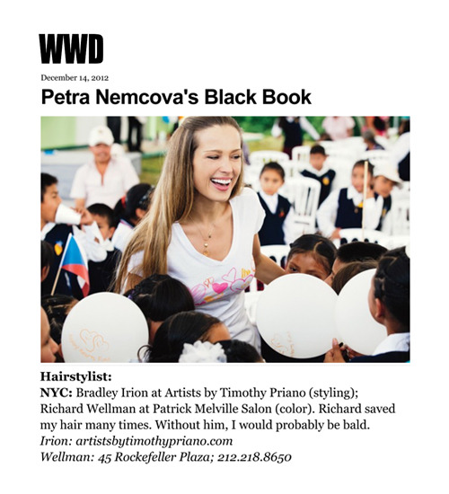 Petra Němcová credits Rick Wellman with saving her posh locks in her WWD Black Book feature.