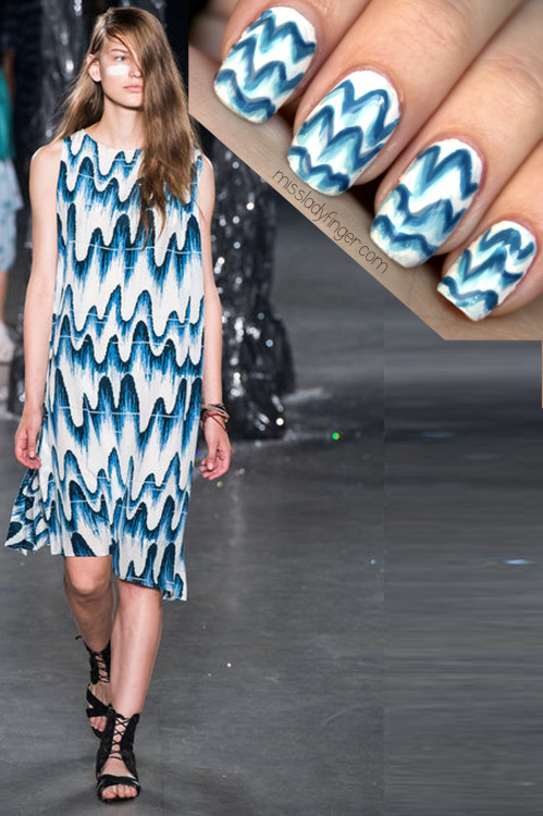 MANICURE MUSE: Band of Outsiders Spring '13 For Spring '13, Band of Outsiders sent Katniss Everdeen into battle with California vibes and warpaint. The only downfall? Peeta was nowhere to be found… Get the Ladyfinger.