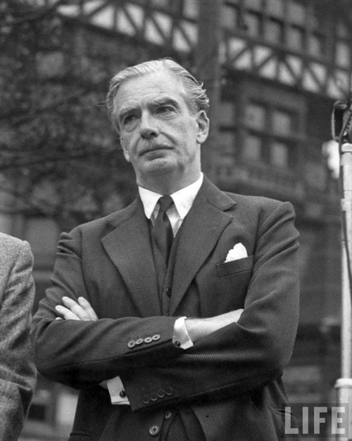 "voxsart:  1955. Anthony Eden and texture in the city suit.  A Prime Minister remembered for his style. For example -""The right suits are dateless - expect when you show the date label in the pocket which all proper tailors include - but they often hint at the archaic (eg the classic double-breasted pinstripe still says 'Anthony Eden, 1939')."" - The Official Sloane Ranger Handbook."