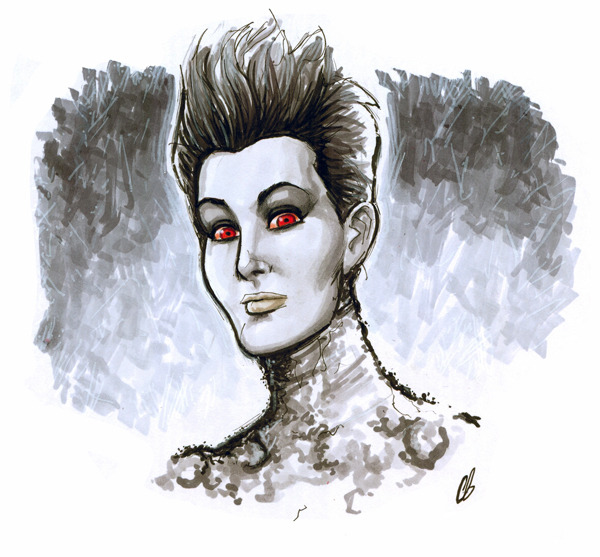 bigchrisgallery:  Lunchtime sketch of the day: Gozer the Gozerian from Ghostbusters! http://www.etsy.com/shop/BigChrisGallery