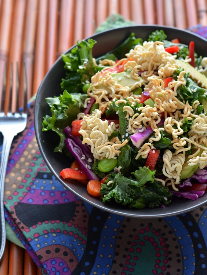 Massaged Kale and Veggie Salad with Toasted Ramen
