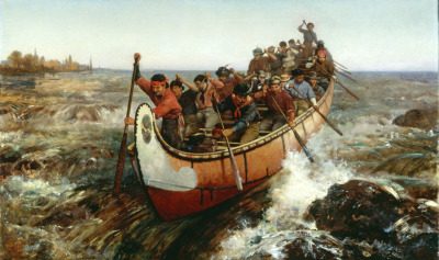 Shooting the rapids, in a master canoe. Painting by Francis Ann Hopkins (courtesy Library and Archives Canada/C2774f).