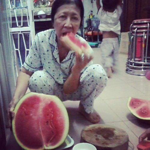 my mom and big water melon. ;)