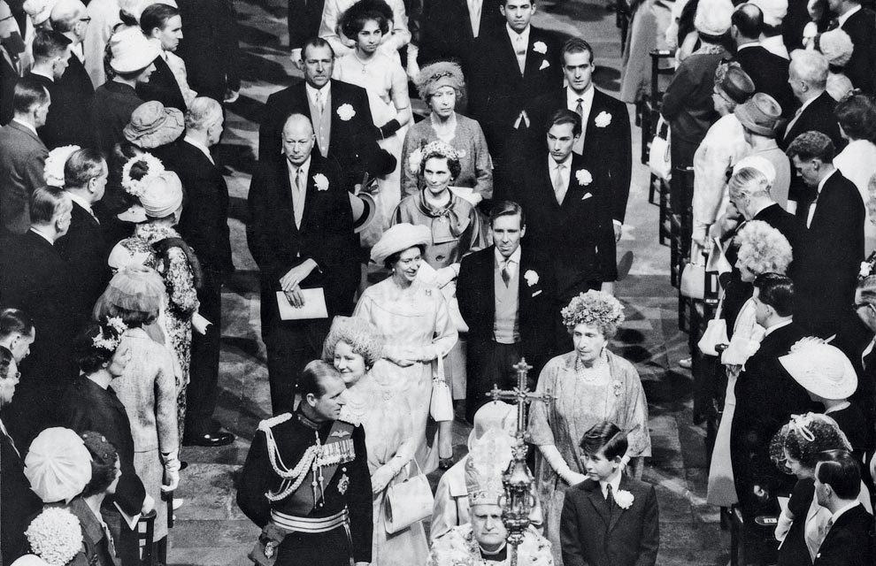 Juan Carlos I of Spain-75 Years, 75 Photos. 51- Wedding of the Duke and Duchess of Kent, May 1961. During the celebrations of this wedding Prince Juan Carlos and Princess Sophia, who had flirted in Rome at the 1960 summer Olympics, began their relationship.  Photo: The royals leaving the Cathedral. After the British Queen, the Duke of Edinburgh and Prince Charles, Queen Victoria Eugenia accompanies the Queen Mother. Behind the Gloucesters, the Count of Barcelona and Prince Juan Carlos escort the Princess Royal, and behind them, Princess Sophia and her brother.