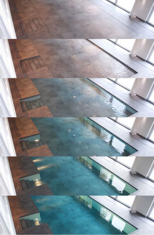heydrago:  midnightdesire:     Hydrofloors  are specially designed pools with movable floors. When the pool is in use it appears completely normal. However, pushing a button causes the pool's floor to slowly rises up while the water slips underneath the floor. Eventually the pool's floor reaches the top and you are left with a large flat area you can use for recreation, dining, parties or any other dry land event you want.  Another press of the button and the floor sinks back down slowly to reveal your already water-filled pool. You can also stop the floor at any point which means you can make the pool as shallow or deep as you want.    … .