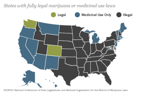 think-progress:  The state of marijuana legalization.  Inch by inch…