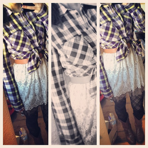 #OOTD plaid, lace and a little country #clothes #diary #fashion #plaid #flannel #tights #lace