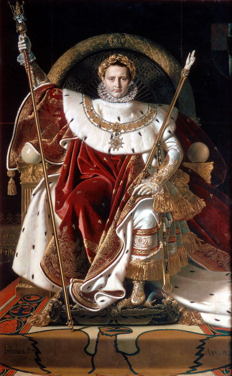 masterpiecedaily:  Jean Auguste Dominique Ingres Napoleon on His Imperial Throne 1806  Always reblog THE EMPEROR. I had an interesting conversation with someone regarding Napoleon and time travel, but I won't get into that.