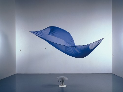 Hans HaackeBlue Sail, 1964-1965  installation | chiffon, oscillating fan, fishing weights, and thread