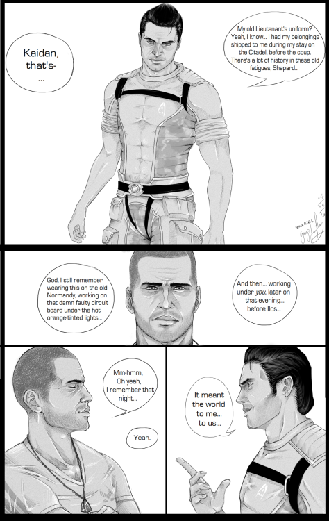 georgiale-flay:  First page of my 3-4 page comic for Kaidan Porn week. (I'm really happy with this so please don't piss on my parade because you don't like Kaidan or Sheploo or homosexuals - seriously, go die.)Paint Tool SAI - took too much time! It's pretty self explanatory, there will be more pages also. Already getting started on the smutty next page! <3  Loving this! Thank you :) And I love that there's a Kaidan porn week!!