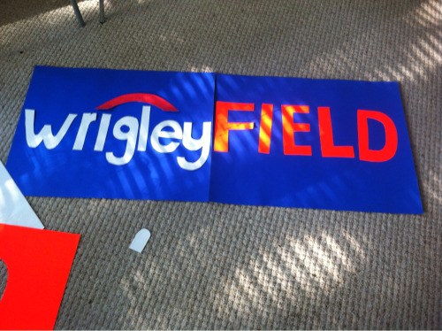 Sign I'm making for the 7 line outing @ wrigley