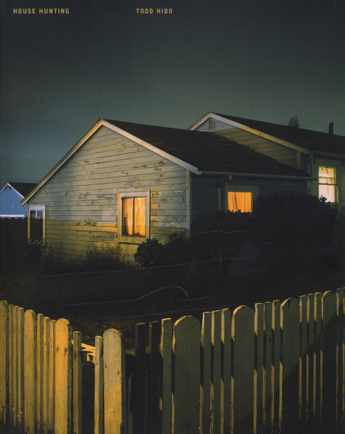 "arahmanphotoblog:  Todd Hido • Cover of House Hunting (www.toddhido.com) Todd Hido, a contemporary American artist concentrating on houses. (google.com) If I tried to take this photograph, it would never be the same, not even with photoshop.  Hido just has ""it"".  Color film with filters can make an ordinary house an extra-ordinary house, as seen in Hido's photographs.  Although he also shoots some nudes, houses are really his thing.  Color juxtaposition in all of his photographs are just wonderful."