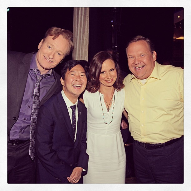 Conan and Andy backstage with tonight's guests Ken Jeong and Mary Lynn Rajskub. #CONAN (at Warner Bros Stage 15)