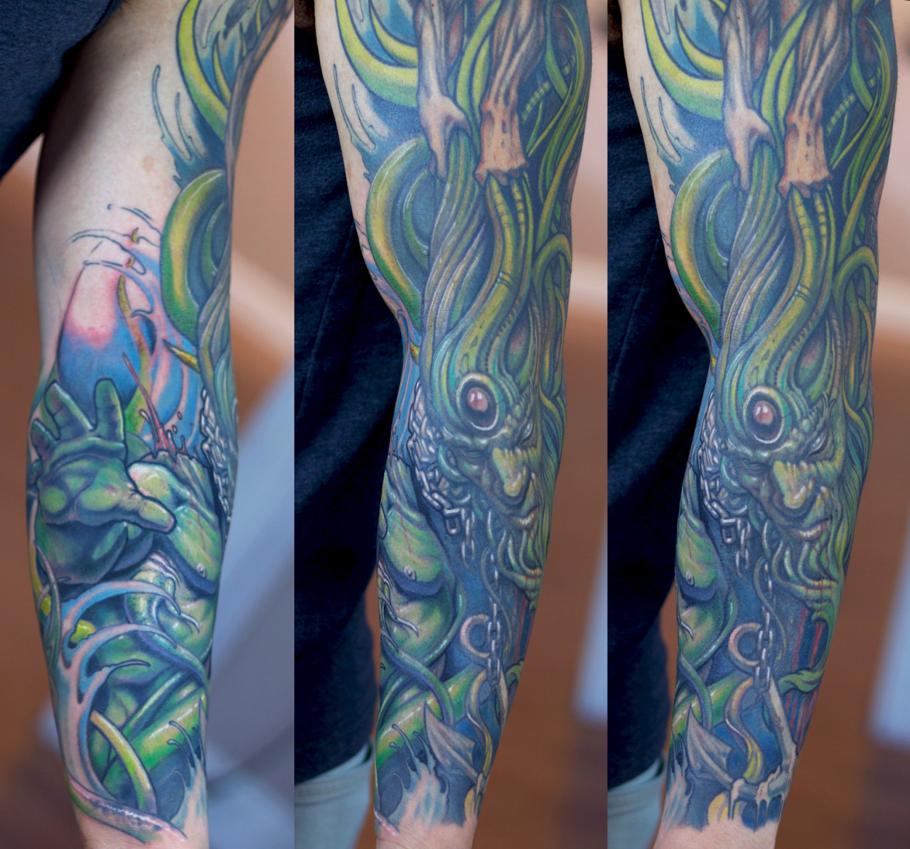 More progress on Steven's Poseidon themed sleeve…  Artist: Paco Dietz      Studio: Graven Image Tattoo, Santa Clara CA