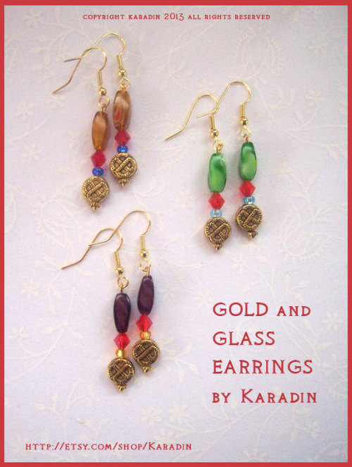 Gold and Glass Earrings in three colourways match the Guardian Angel Necklaces here CASTIEL    DEAN    SAM
