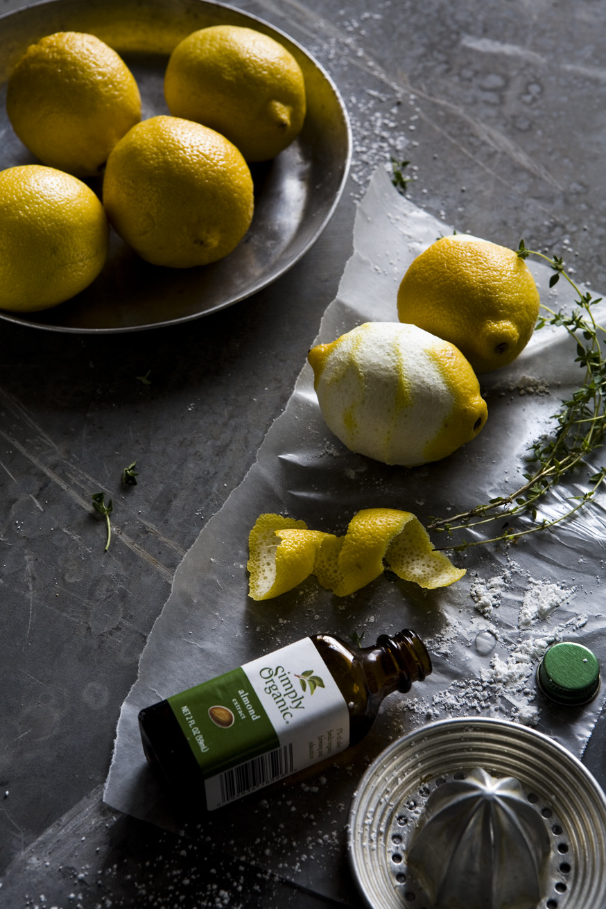 Lemon/Thyme shoot! Yet another calibration with Quelcy Kogel, of With the Grains (http://withthegrains.com) We did this shoot on a huge old slate chalk board with almost all natural light. Our sets sometimes end up looking like space ships with C stands holding bounce cards, and hanging scrim papers.  Check out Quecly's blog for the recipe and more behind the scnes from this Lemon Thyme shoot: http://withthegrains.com/2011/12/29/just-in-thyme-for-the-holidays-part-deux/  http://www.adammilliron.com
