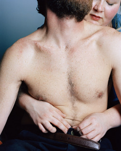 (via Self-Portraits : Jen Davis Photography) Mike and I, 2006  Jen Davis is a Brooklyn based photographer. For the past ten years she has been working on a series of Self-Portrait's dealing with issues regarding beauty, identity, and body image. She has also been exploring men, as a subject and is interested in investigating the idea of relationships, both physical and psychological, with the camera. She received her MFA from Yale University in 2008, and her BA from Columbia College Chicago in 2002. Jen is represented by Lee Marks Fine Art.