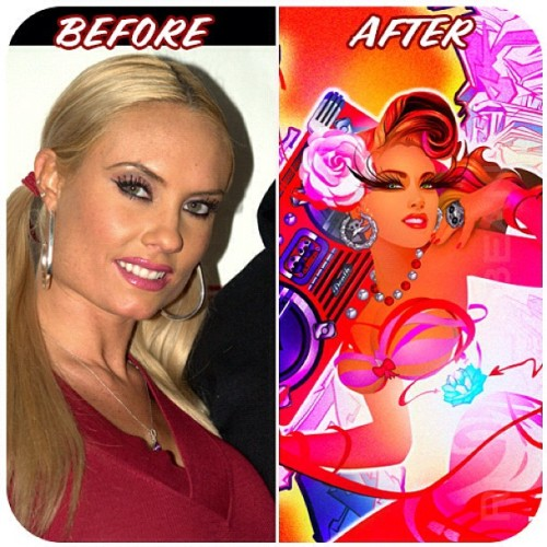 "Pinup transformation of Coco @Cocosworld later converted into apparel design. Originally called ""Savage beast"" complete with Heart Lotus, Love Ghetto blaster Graffiti wings. #MusicTamesTheSavageBeast #Boomboxbombshells #Riceandbeanz #portraitsbysantiago #pinup #coco #boombox #lotus #portrait #illustration #art"
