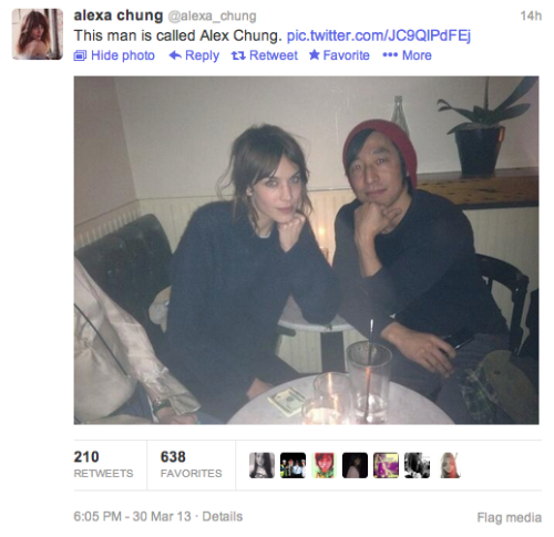So psyched that Alex Chung and Alexa Chung finally found each other. We've been waiting years for this.