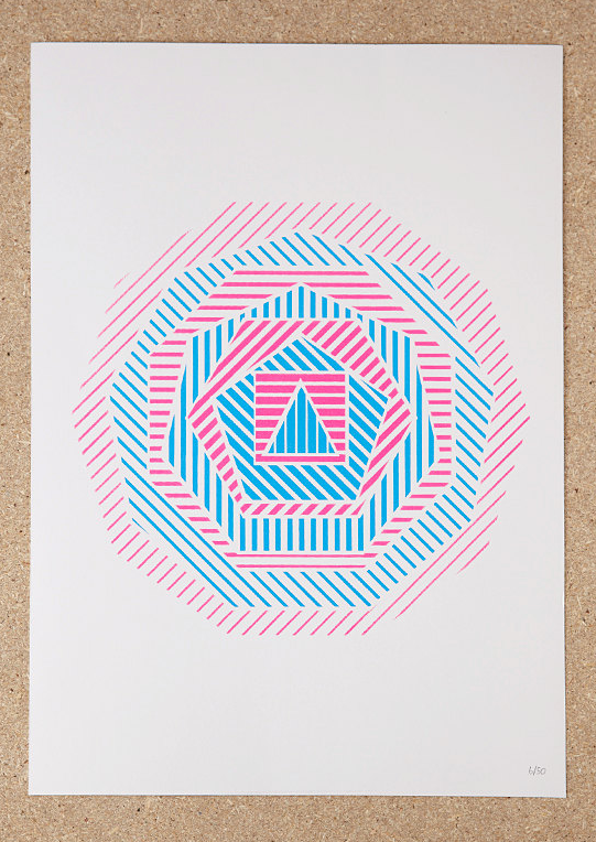Sold (London), Geometric Screenprint in Blue/Pink, A3, Edition of 50, Available here.