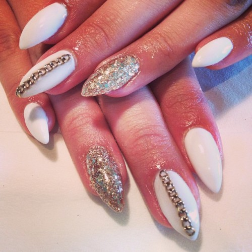Vanessa's white and gold chains (at Classy Claws Nail Studio)