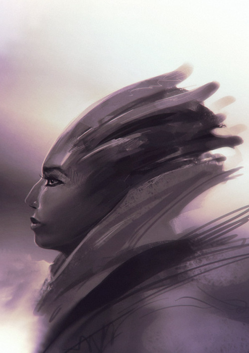 Warm-up sketch of today, 20 minutes Photoshop, loosely Asari inspired..