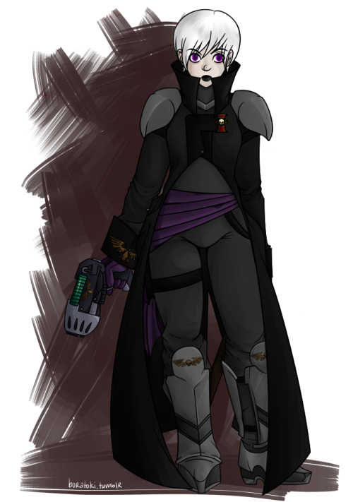 Imperial Inquisitor Rose Lalonde of the Ordo Melleus   It was really only a matter of time before I gave into the temptation of 40kstuck… and I'm just going to link to this wiki page on the off-chance that someone would actually like to know whats going on here.  I once heard Inquisitors described as Space Demon Hunters… which i guess sort of sums it up fairly well in this case.