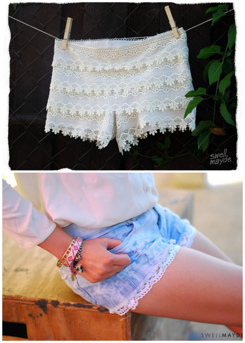 Two Tutorials for Restyling Shorts with Lace from Swellmayde. Top Photo: DIY Tiered Lace Shorts from Swellmayde here, Bottom Photo: DIY Sew or No Sew Lace Trimmed Shorts from Swellmayde here.