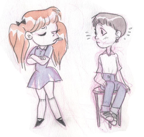 I got this as a request way back - it's Shinji and Asuka from Evangelion. I never watched/read the series, so forgive me if they look weird.. I hope you like it, Shinjiprince! (I'll scan the other requests I got ASAP!!)