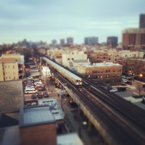bogrosemary:  Red line through Wrigleyville. (at 3639 Wrigley Rooftop)