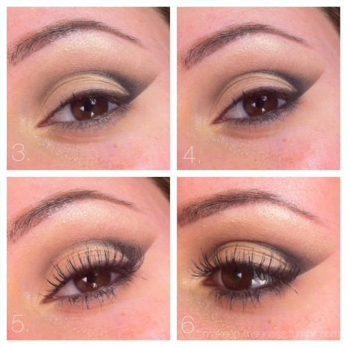 makeup-madness:  elongated cut crease tutorial with glō minerals smoky eye kit-  1. Apply a piece of tape along the lower lashline slanting up to create a sharp edge. Sweep color #1 across the entire eye, from just beneath the brow to the upper lashline. Use a fluffy blendin brush to apple color #3 to the crease, dragging it out.  2. Apply color #4 with an angled liner brush along the outer lashline and up into the outer crease. This should create a sideways 'V' shape. Blend softly!  3. Remove the tape. Blend color #2 along the lower lashline.   4. Line color #4 even closer to the lower lashline, creating a gradient.   5. Curl the lashes, apply mascara, and falsies if you choose.   6. Done!  The palette used is the Smoky Eye Kit by glō minerals provided by beautystoredepot.com. See my review on this palette here! Hope you found this tutorial helpful!  xo