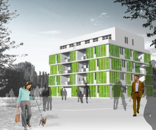 science-junkie:  First algae powered building goes up in Hamburg A 15-unit apartment building has been constructed in the German city of Hamburg that has 129 algae filled louvered tanks hanging over the exterior of the south-east and south-west sides of the building—making it the first in the world to be powered exclusively by algae. Designed by Arup, SSC Strategic Science Consultants and Splitterwerk Architects, and named the Bio Intelligent Quotient (BIQ) House, the building demonstrates the ability to use algae as a way to heat and cool large buildings. Read more
