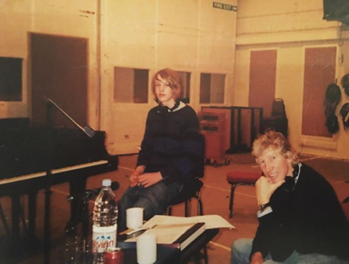 "bowerjamie-""14 year old me at Abbey Road Studios with the legend that is Mr Roger Waters from Pink Floyd. Kudos to anyone who knows what we were recording. 👊🖤"" Jamie Campbell Bower Instagram"