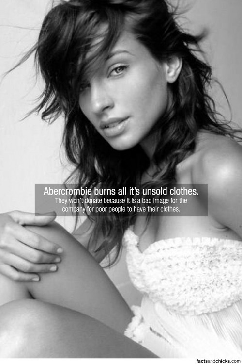 factsandchicks:  Abercrombie burns all it's unsold clothes. They won't donate because it is a bad image for the company for poor people to have their clothes. source submitted by beabrainstorm