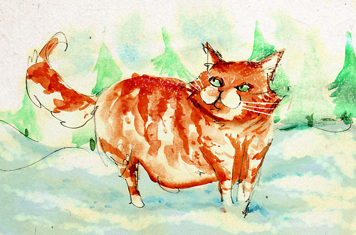 Cat in some snow. Watercolours are fun. I miss my cat.