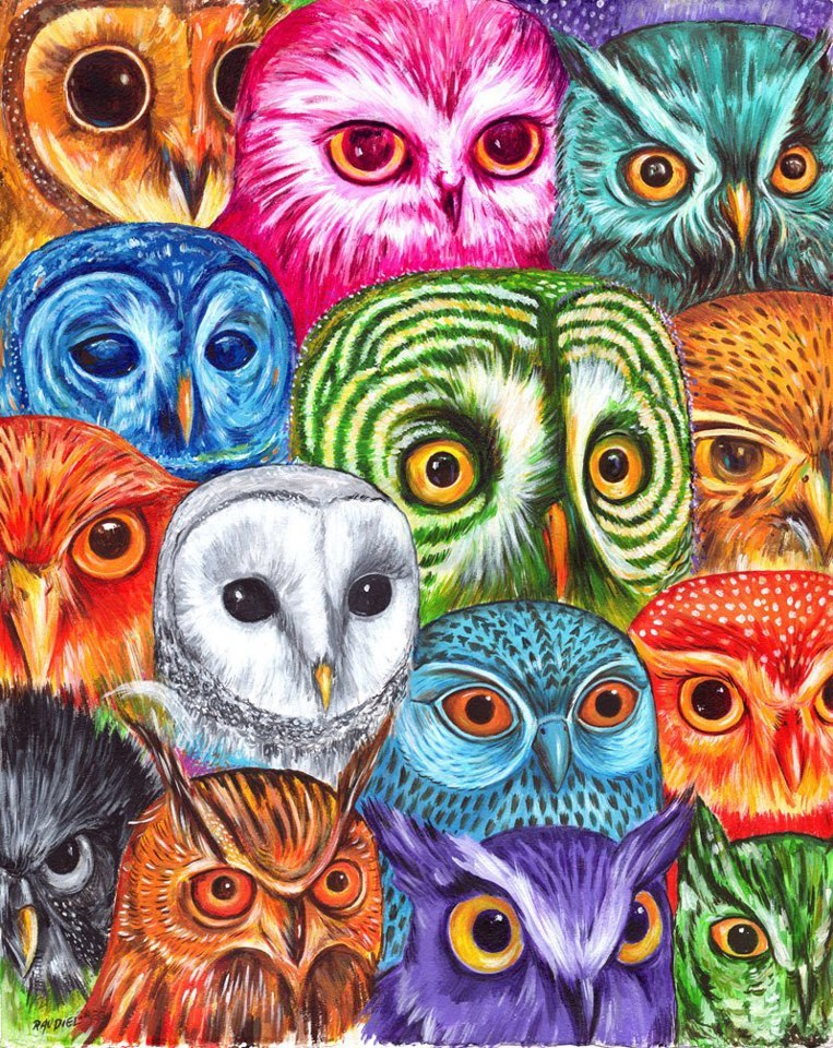 raudiel:  Owl CollectorAcrylic on cotton Paper