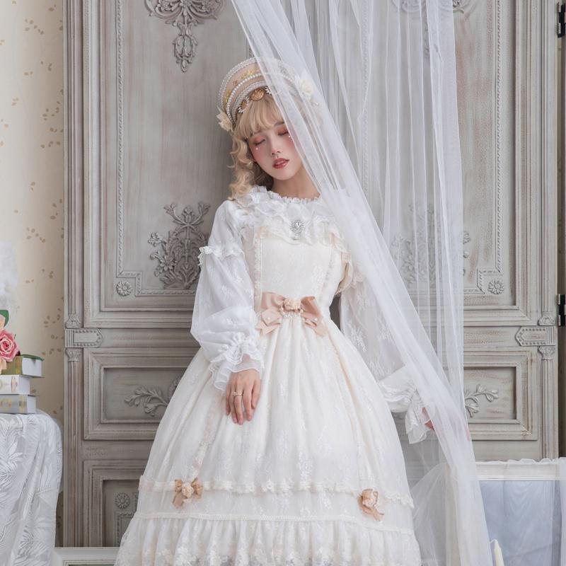 Dawn Girl Lolita Dress by Miss Point. Elegant French Lace Classic Lolita JSK 🌅🌅🌅 #SongofLolita#lolita#lolita fashion#lolita dress#lolita jsk#classic lolita#lace
