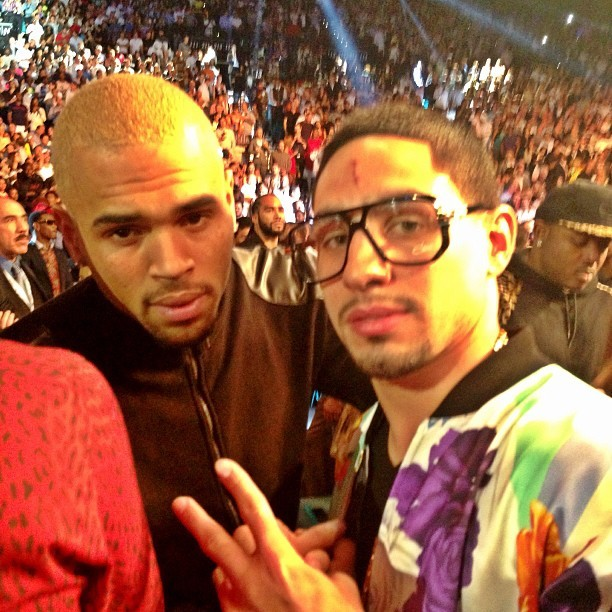 lovingcbreezy:  Chris with Danny Swift Garcia a couple of hours ago at the fight tonight in Vegas.