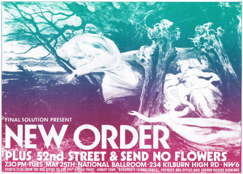 postpunkflyers:  New Order, flyer for a show at the National Ballroom, London 1982 via