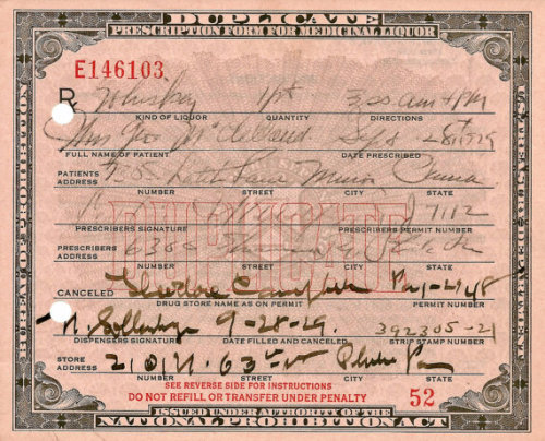 lifeofawhiskeydrinker:  Prohibition Whiskey Prescription - Dr. Mulford Drug Store Campbell's Philadelphia, PA, 1929.