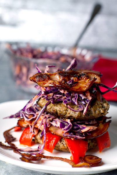 Mustard Beef and Bacon Burger with Cole Slaw with recipe (link)