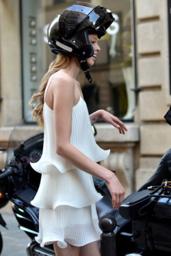 indvlge:  Love the contrast of the delicate dress with the helmet haha