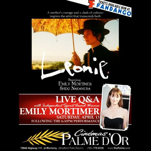 Meet #EmilyMortimer tmrw (during a live Q&A) 4/13 in #PalmDesert at #CinemasPalmedOr following the 6:30pm showing of #Leonie! #cinemas #intheaters #celebrity #film #movie #movies #mmi #montereymedia #montereymediainc